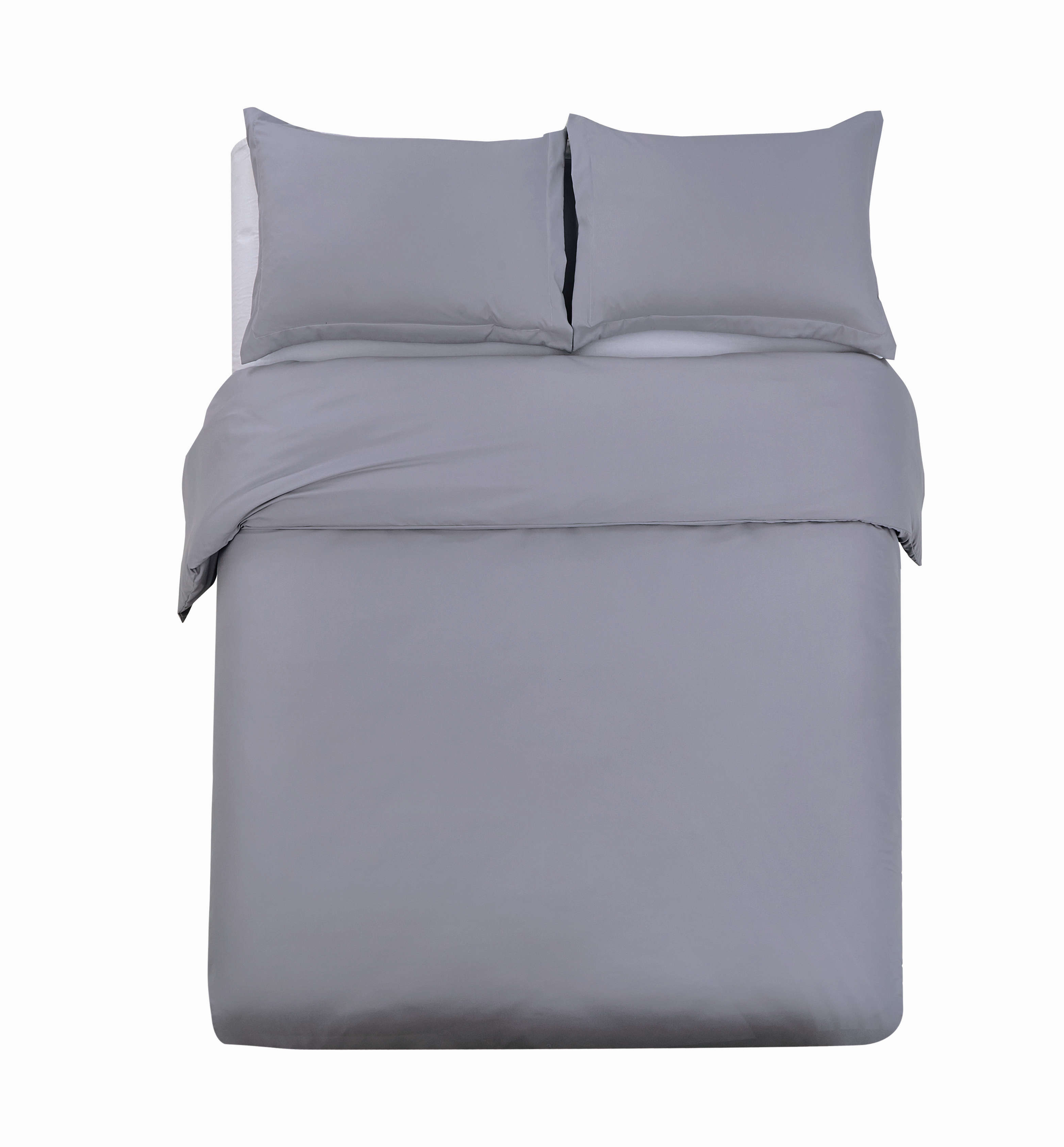 Duvet Cover Sets 3 PC Brushed Microfiber Solid Color, Dark Gray, Full/Queen