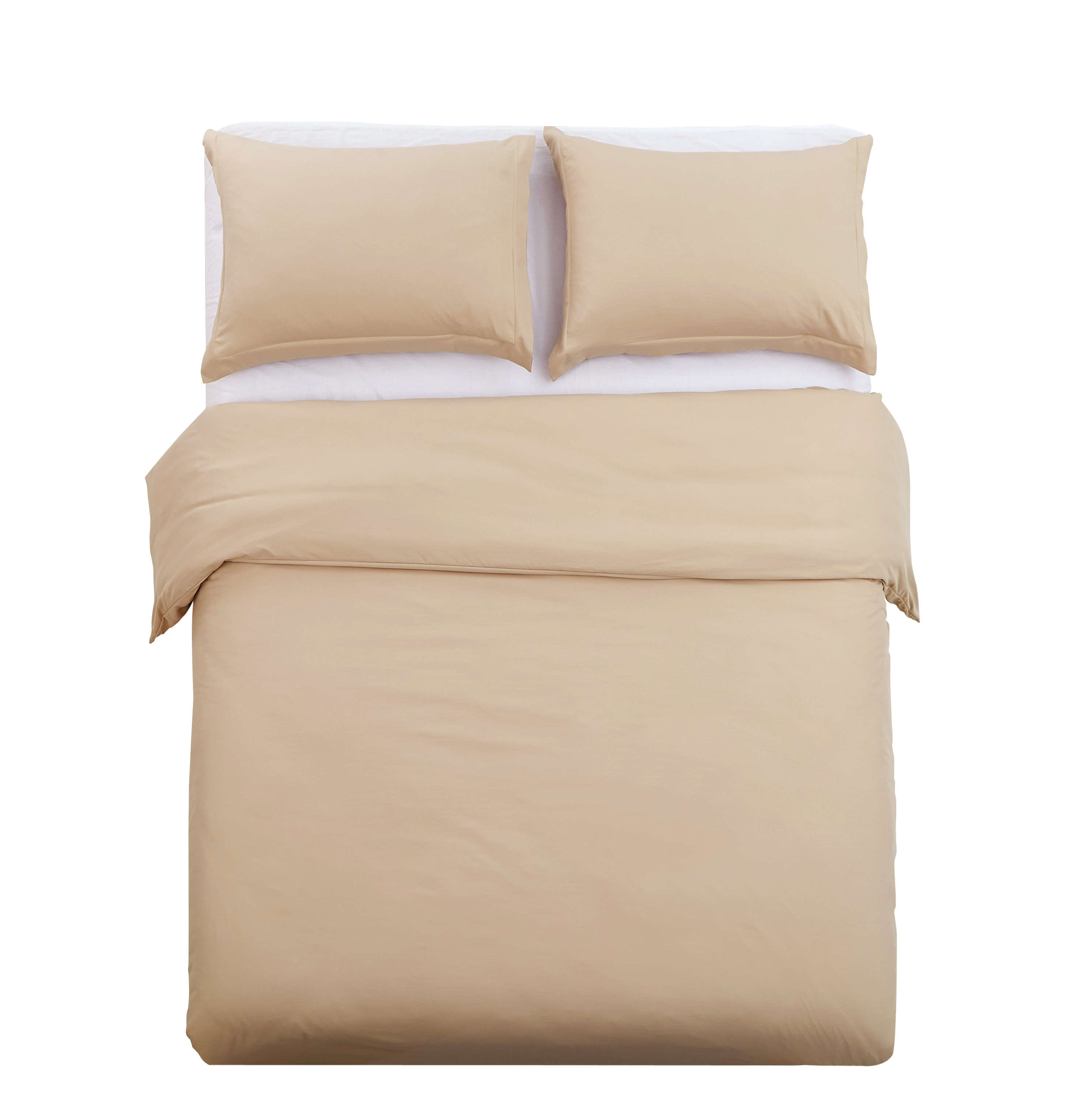 Duvet Cover Sets 3 PC Brushed Microfiber Solid Color, Khaki, Full/Queen